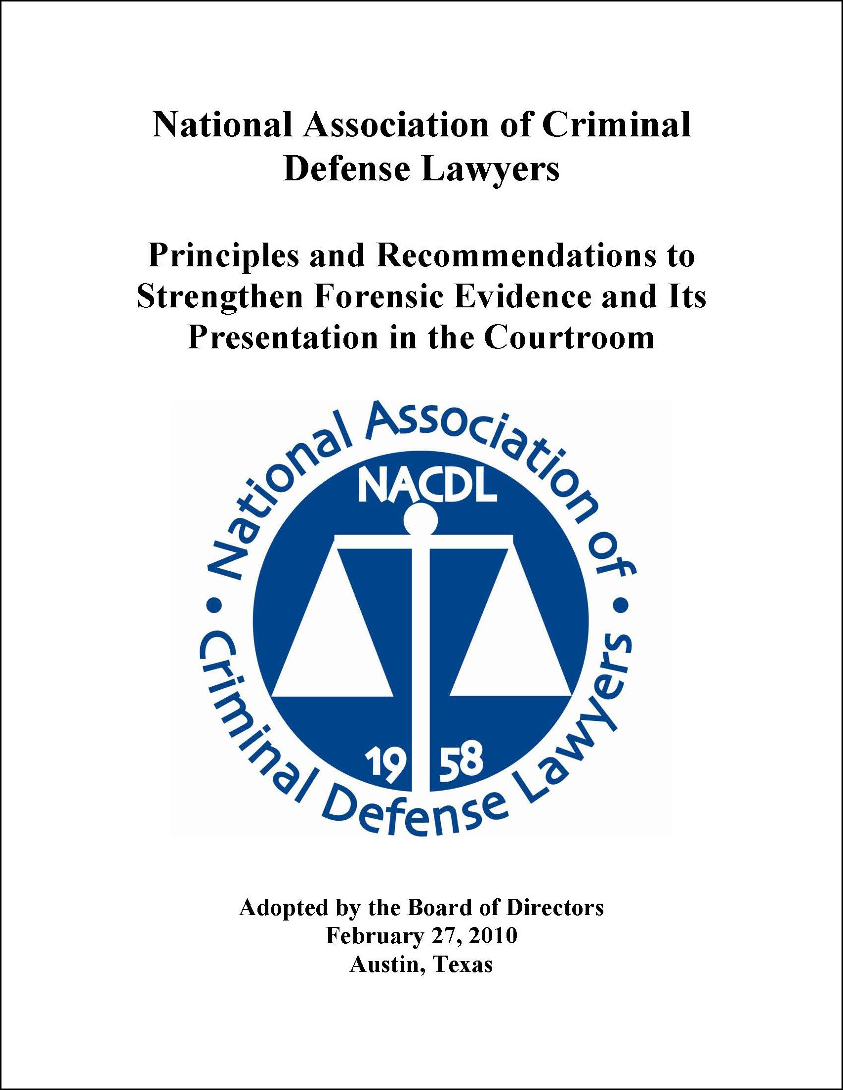 Principles and Recommendations for Strengthening Forensic Science in the Courtroom Cover